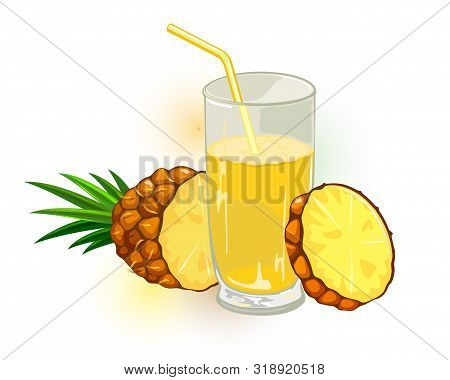 Fresh, Ripe Pineapple With Leaves Cutted To Slices And Glass Of Yellow Nectar, Juice Or Cocktail Wit