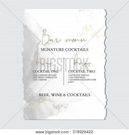 Wedding Grey Liguid Ink, Greeting Invitation Card With Luxury Gold Foil, Marble Texture Background A