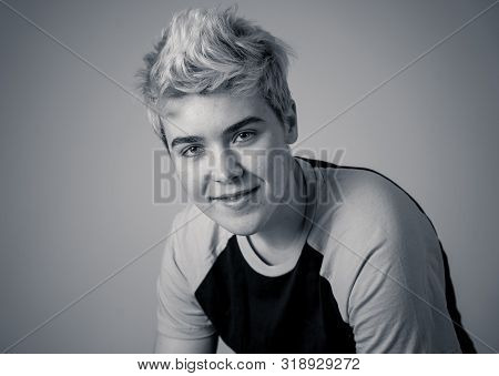 Portrait Of Young Attractive Stylish Fashion Teenager Confident And Happy With His Gender Identity.