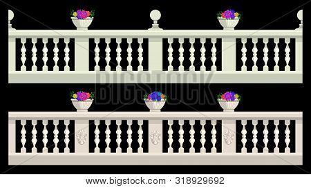 Stone Railing, Balustrade With Flower Pots And Patterned Stucco Isolated On A Black Background. Vect