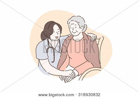 Nursing Home, Hospital, Hospice, Rehabilitation Concept. Happy Old Woman Holding Hands With Nurse To