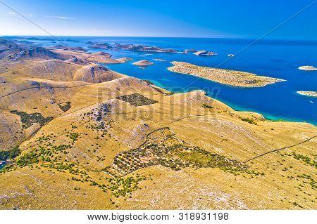Island Of Kornat Stone Desert Archipelaho Aerial View, Kornati National Park In Dalmatia Region Of C
