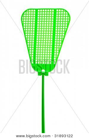 green fly swatter on a white background