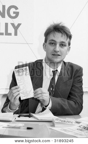 LONDON - MARCH 19: Joe Marshall, Assistant Secretary of the Democratic Left party, attends their manifesto launch press conference on March 19, 1992 in London.