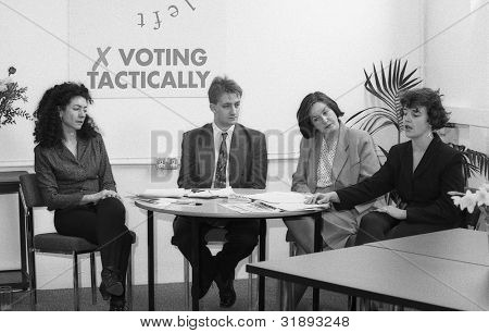 LONDON - MARCH 19: The committee of the Democratic Left party attend their manifesto launch press conference on March 19, 1992 in London. L-R Lorna Reith, Joe Marshall, Nina Temple, Helen Taylor.