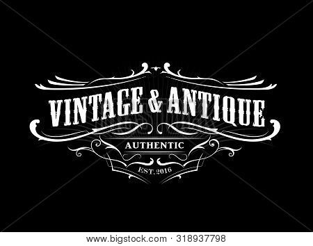Vintage Badge Border Western Antique Frame Label Engraving Retro Vector Illustration