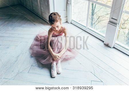 Young Classical Ballet Dancer Girl In Dance Class. Beautiful Graceful Ballerina In Pink Tutu Skirt P