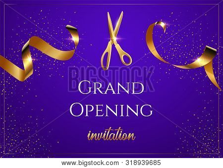 Grand Opening Blue Invitation Vector Banner. Mall, Store Sales Promotional Poster. Shiny Scissors Cu