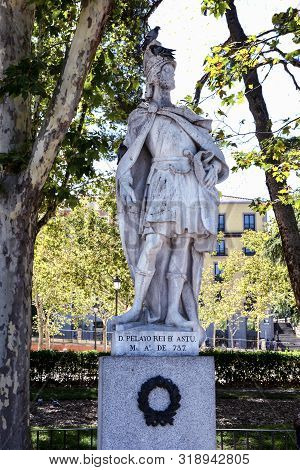 Madrid-september, 13,2017: Statue Of King Pelayo Of Asturias In Madrid-on September 13, 2017 In Madr