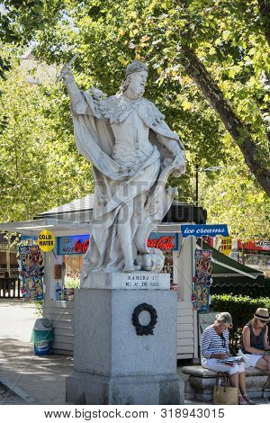 Madrid-september, 13,2017: Statue King Ramiro 1 Iin Square Oriente In Madrid-on September 13, 2017 I