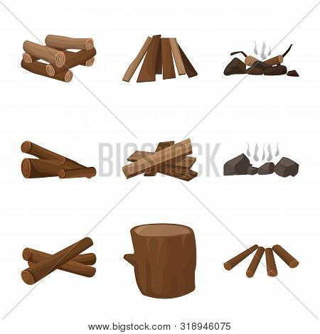 Vector Illustration Of Timber And Nature Sign. Collection Of Timber And Construction Vector Icon For
