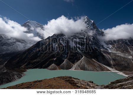Scenics View Of Cholatse 6,440 M And Taboche 6,542 M Path Of Mahalangur Himal With Chola Lake Near Z
