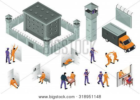 Jail Isometric Icons Set Of Prison Building Surrounded By Fence With Barbed Wire And Towers And Spec