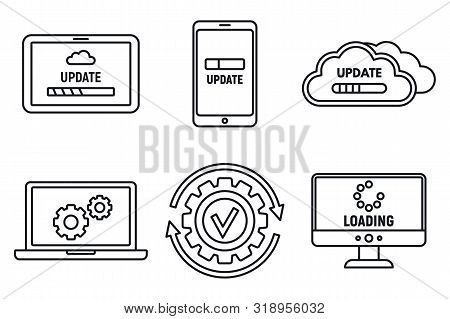 Computer System Update Icons Set. Outline Set Of Computer System Update Vector Icons For Web Design