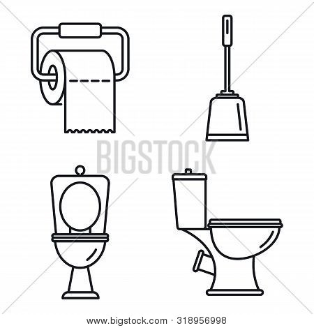 Restroom Toilet Icons Set. Outline Set Of Restroom Toilet Vector Icons For Web Design Isolated On Wh