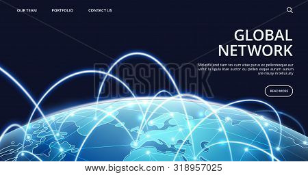 Global Network Landing Page. Internet And Global Connection Vector Background. Illustration Connecti
