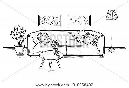 Sketch Living Room. Sofa, Lamp And Pictures On Wall House Furniture Contemporary Apartment Drawing R