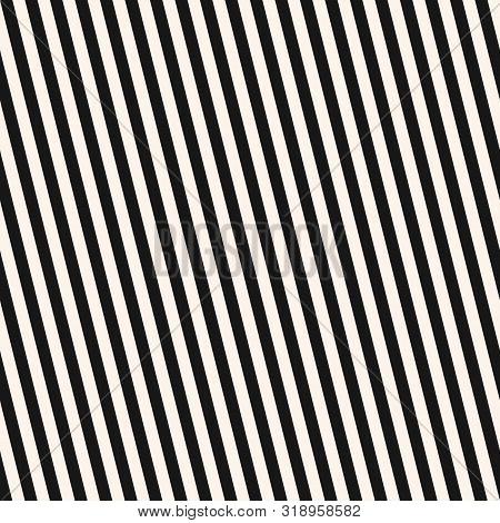 Diagonal Stripes Seamless Pattern. Simple Black And White Vector Slanted Lines Texture. Modern Abstr