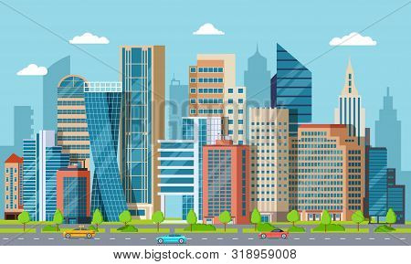 Flat Downtown. Skyscrapers, Exterior Of Modern City Buildings. Residential And Business Office House