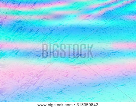 Shiny Poster Glitch Holographic Vector Layout Design. Abstract Wallpaper With Holo Texture. Blinking