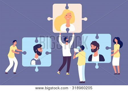 Hr Manager And Headhunters. Recruiting Concept. Vector Job Search, Human Resource, Employees Adverti