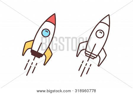 Collection Of Colorful And Monochrome Drawings Of Flying Spaceship, Spacecraft Or Shuttle. Spaceflig