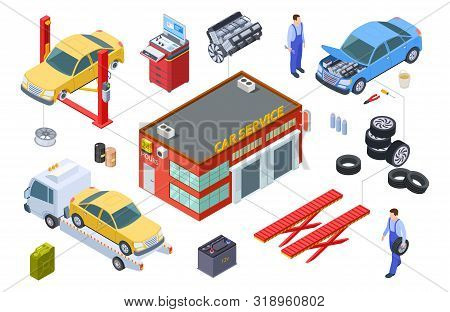 Car Service Isometric Concept. Vector Venicle, Tire Service Illustration. Cars, Building, Repair Too