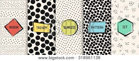 Polka Dot Patterns Collection. Vector Geometric Seamless Textures With Chaotic Circles, Dots, Spots.