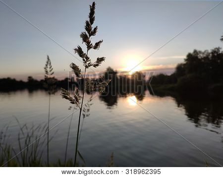 Beautiful Sunset Over The River Wallpaper. Natual Sunset Background