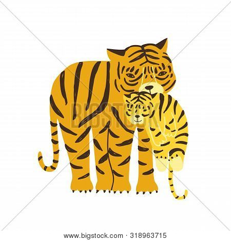 Tiger Carrying Its Cub Isolated On White Background. Adorable Family Of Cute Funny Wild Exotic Carni