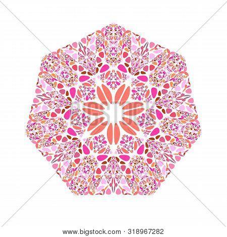 Isolated Ornate Floral Mosaic Heptagon Shape - Ornamental Colorful Geometrical Geometric Vector Elem