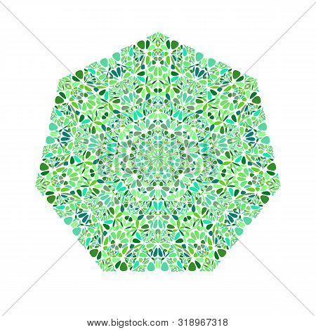 Abstract Ornate Flower Ornament Heptagon Shape - Geometrical Geometric Vector Design Element