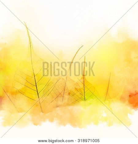 Autumn Fall artistic Border - Autumn leaves and watercolor white background - beautiful design