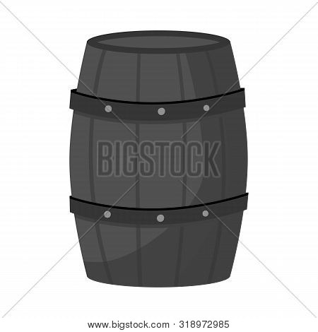 Isolated Object Of Cask And Wine Icon. Set Of Cask And Wooden Vector Icon For Stock.