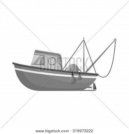 Isolated Object Of Fishery And Trawler Icon. Collection Of Fishery And Naval Stock Symbol For Web.