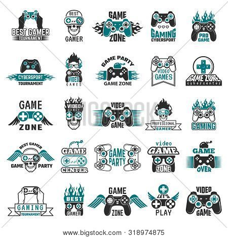 Video Game Labels. Gaming Console Cybersport Logo Joystick Controller Symbols Of Entertainment Club