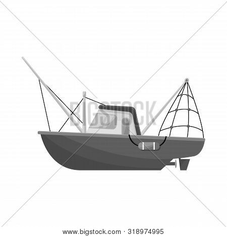 Vector Design Of Steamboat And Ship Sign. Collection Of Steamboat And Tugboat Stock Symbol For Web.