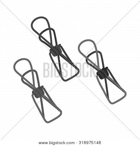 Vector Illustration Of Pin And Clothespin Symbol. Collection Of Pin And Shape Stock Vector Illustrat