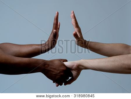 Conceptual Image Of Equality And Tolerance. Different Races Coming Together For Better World