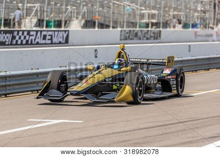 August 23, 2019 - Madison, Illinois, USA: MARCUS ERICSSON (7) of Kumla, Sweden  practices for the Bommarito Automotive Group 500 at World Wide Technology Raceway in Madison, Illinois.