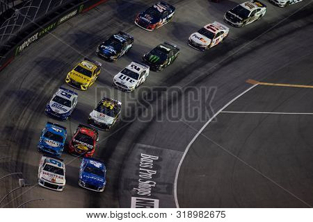August 17, 2019 - Bristol, Tennessee, USA: Kyle Larson (42) battles for position during the Bass Pro Shops NRA Night Race at Bristol Motor Speedway in Bristol, Tennessee.