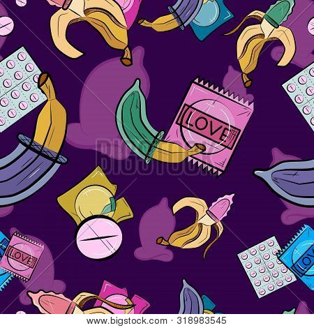 Safe Sex Seamless Pattern With Condoms. Colorful Condom. Banana With Condom. Vector Illustration.