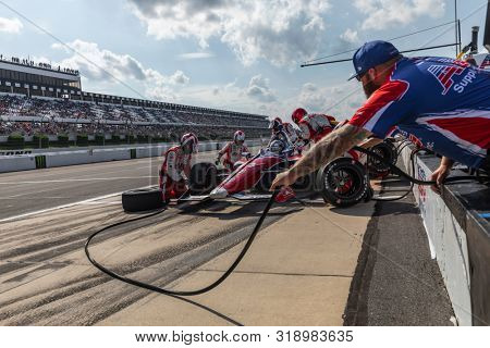 August 18, 2019 - Long Pond, Pennsylvania, USA: TONY KANAAN (14) of Salvador, Brazil  brings his car in for service during the ABC Supply 500 at Pocono Raceway in Long Pond Pennsylvania.