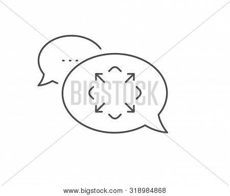 Maximize Arrow Line Icon. Chat Bubble Design. Full Screen Symbol. Maximise Navigation Sign. Outline