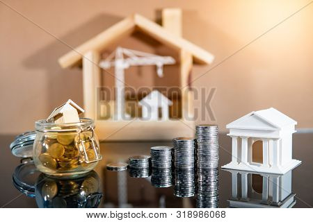Banking Concept. Loan Interest Rate Growth. Saving Money For Property Or Real Estate Investment. Hom