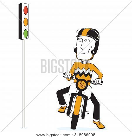 Illustration Of A Biker And Traffic Lamp