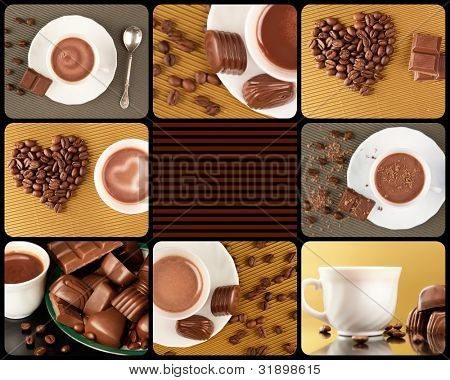 Collage composed of photos of chocolate sweets, coffee beans and hot cocoa in a cup