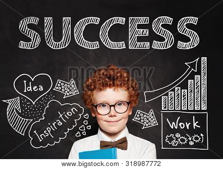 Clever Kid With Book. Start Up, Education And Success Concept