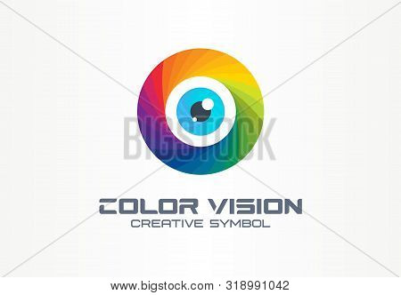 Color Vision, Circle Eye Creative Symbol Concept. Colorful Iris Lens, Security, Rainbow Abstract Bus