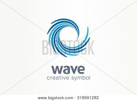 Water Wave, Aqua, Whirlpool Creative Symbol Concept. Blue Swirl, Clear Spiral Mix Abstract Business